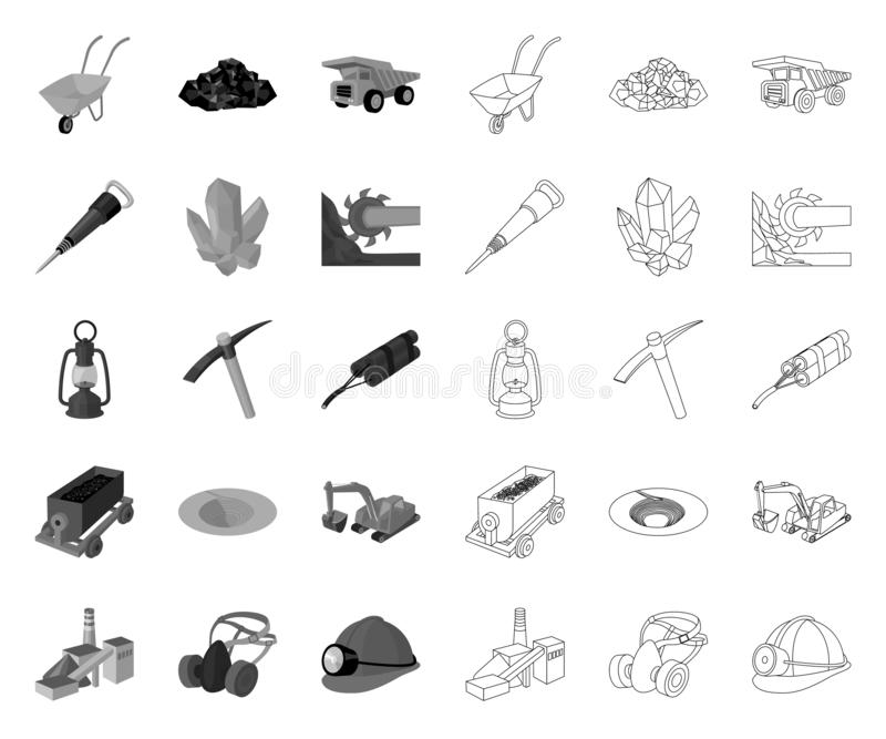 Minenindustrie mono, Entwurfsikonen in gesetzter Sammlung f?r Entwurf Ausr?stungs- und Werkzeugvektorsymbol-Vorratnetz vektor abbildung