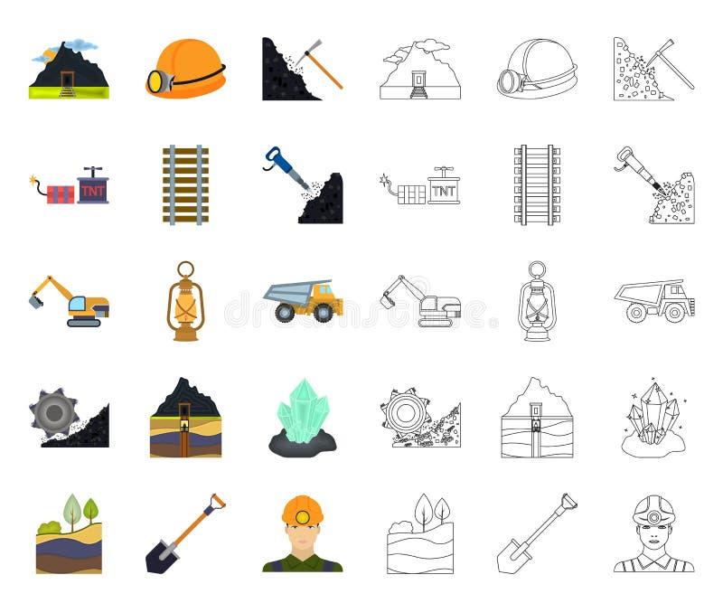 Minenindustriekarikatur, Entwurfsikonen in gesetzter Sammlung f?r Entwurf Ausr?stungs- und Werkzeugvektorsymbol-Vorratnetz stock abbildung