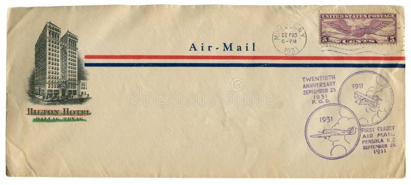 Mineola, Нью-Йорк, США - 23-ье сентября 1931: Конверт США исторический: предусматрива с годовщиной 1911 первого полета двадцатых  стоковая фотография rf