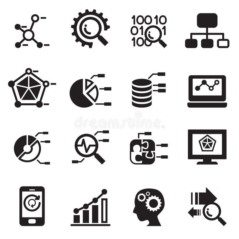 Minería de datos, base de datos, iconos del análisis de datos fijados libre illustration