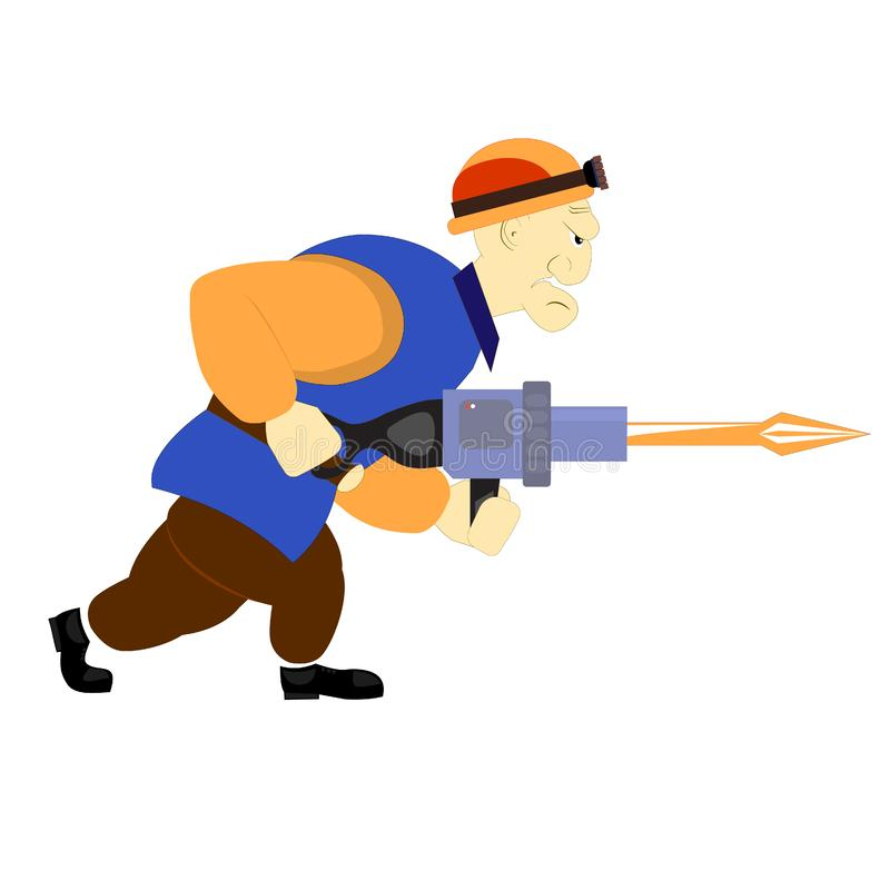 Miner builder worker with air hammer. Cartoon character with aggressive face. Mining of ore, diamonds, crypto currency or other royalty free stock photography