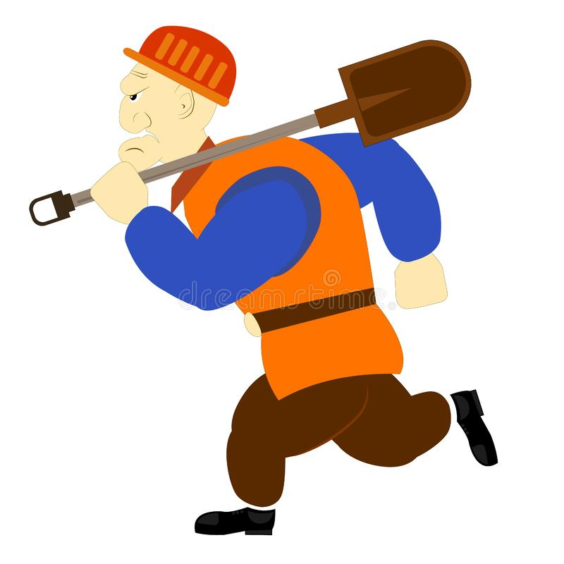 Miner builder worker with shovel. Cartoon character with aggressive face. Mining of ore, diamonds, crypto currency or other block royalty free stock images