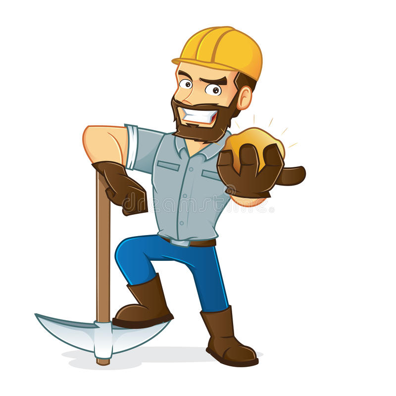 Miner holding gold and pickax vector illustration