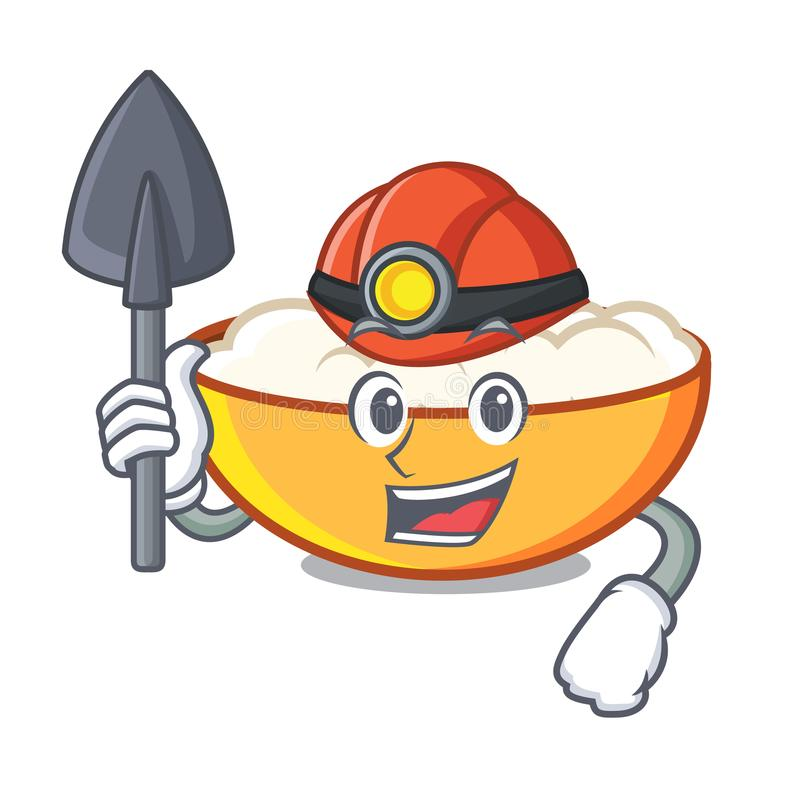 Miner cottage cheese mascot cartoon. Vector illustration vector illustration
