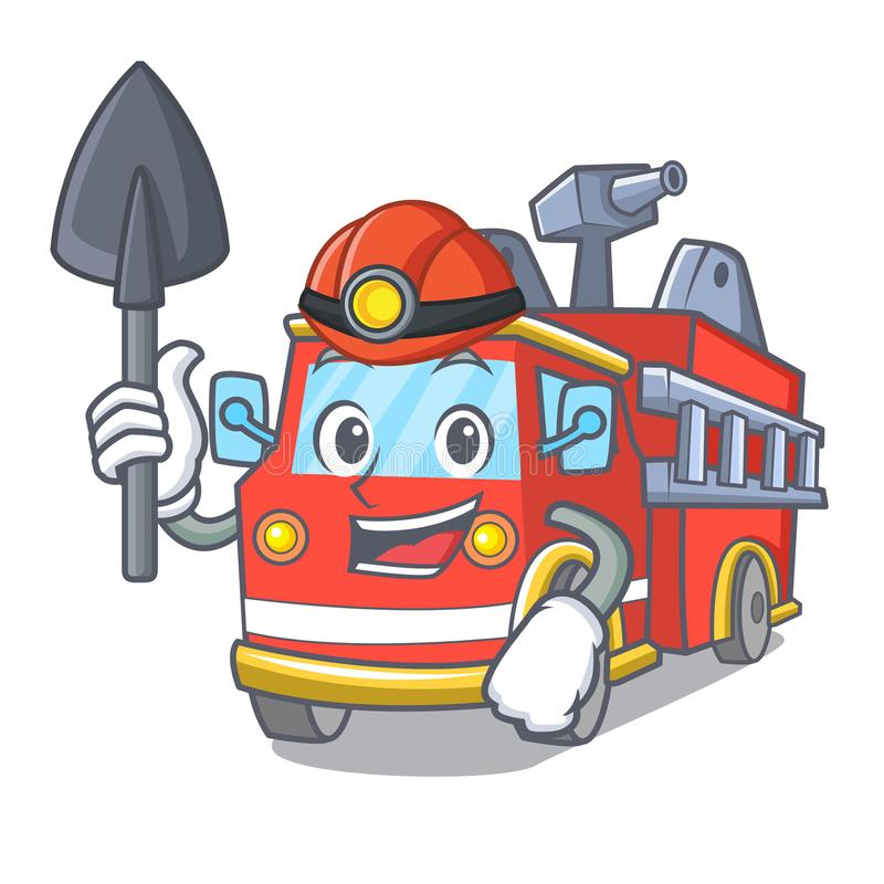 Miner fire truck mascot cartoon stock illustration