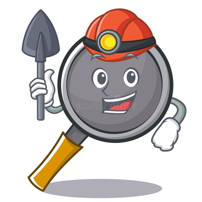 Miner frying pan cartoon character. Vector illustration stock illustration
