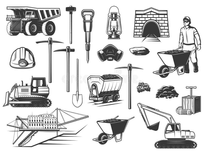 Miner, helmet, pickaxe and mining equipment icons. Coal mining industry, miner and underground equipment icons. Vector mine worker, dump truck and helmet vector illustration