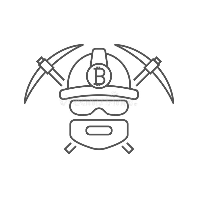 Miner logo. Mining Bitcoin Crypto Currencies. Worker with pickaxes. Editable Stroke vector illustration