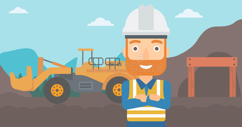 Miner with mining equipment on background. vector illustration