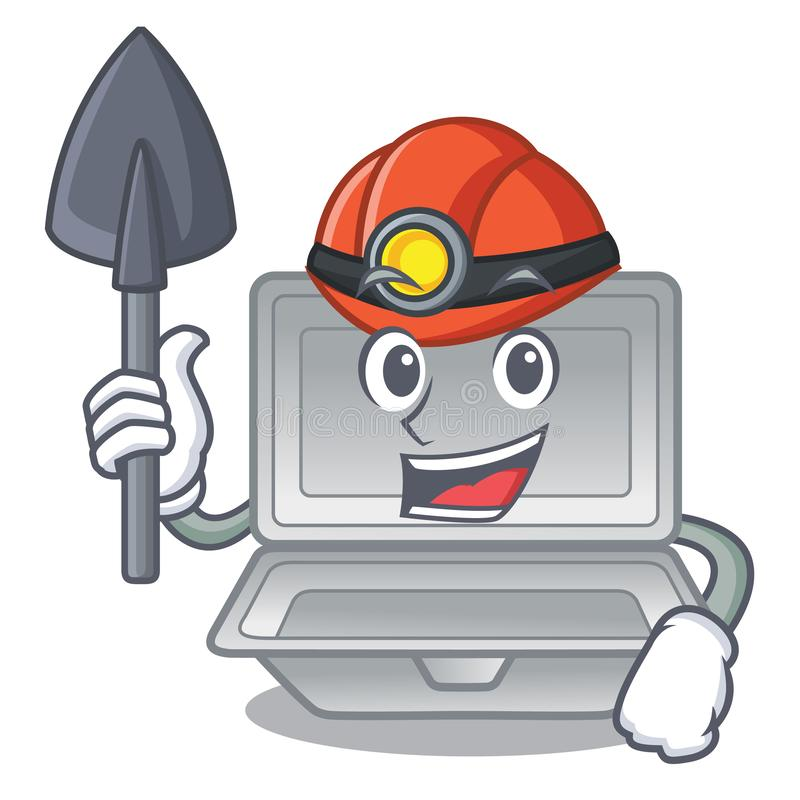 Miner open styrofoam in the character box. Vector illustration stock illustration