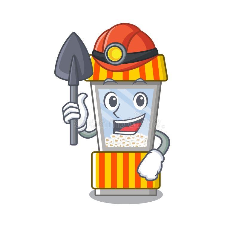 Miner popcorn vending machine is formed cartoon. Illustration vector stock illustration