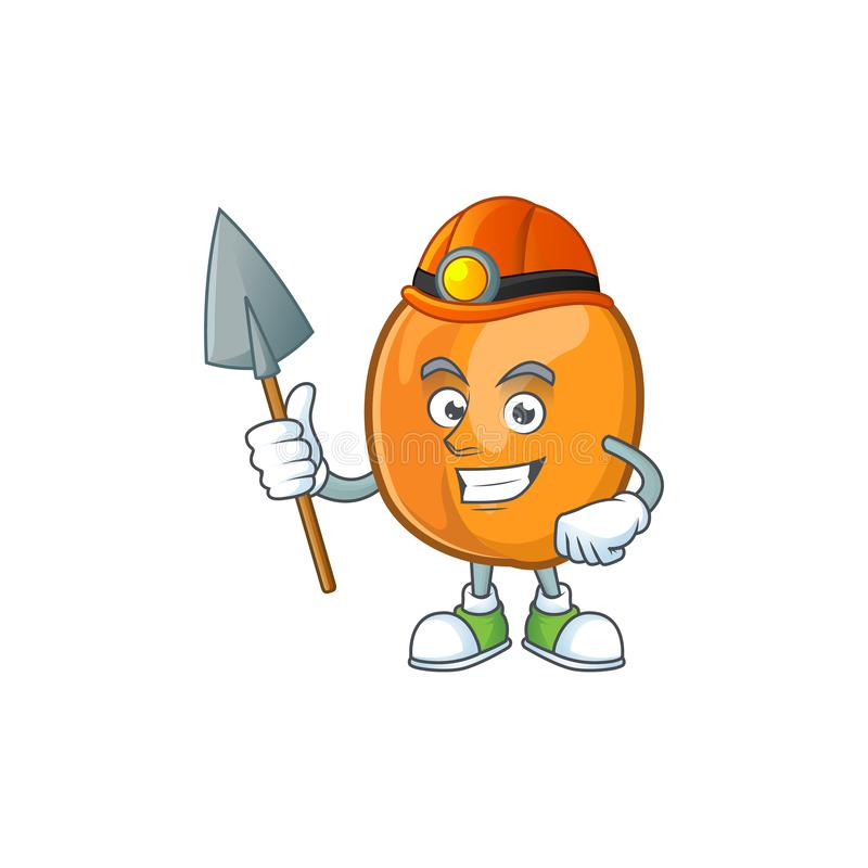 Miner ripe apricot character mascot of cartoon. Vector illustration royalty free illustration