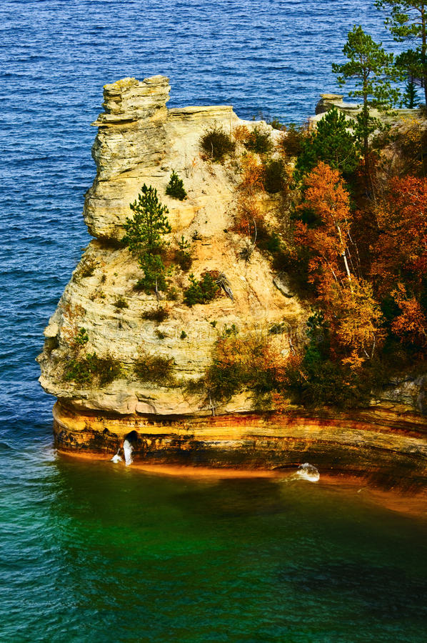 Miner's Castle, Lake Superior, Michigan. Miner's Castle, a rock formation formed by erosion, in the Pictured Rocks National Lakeshore on the coast of Lake royalty free stock photo