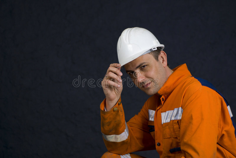 Download Miner Saluting With Copy Space Stock Image - Image of discovery, manual: 4971929