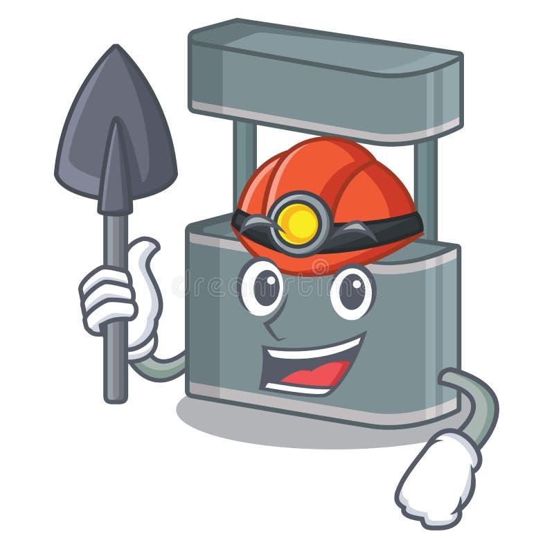 Miner trade stand on the cartoon roadside. Vector illustration stock illustration