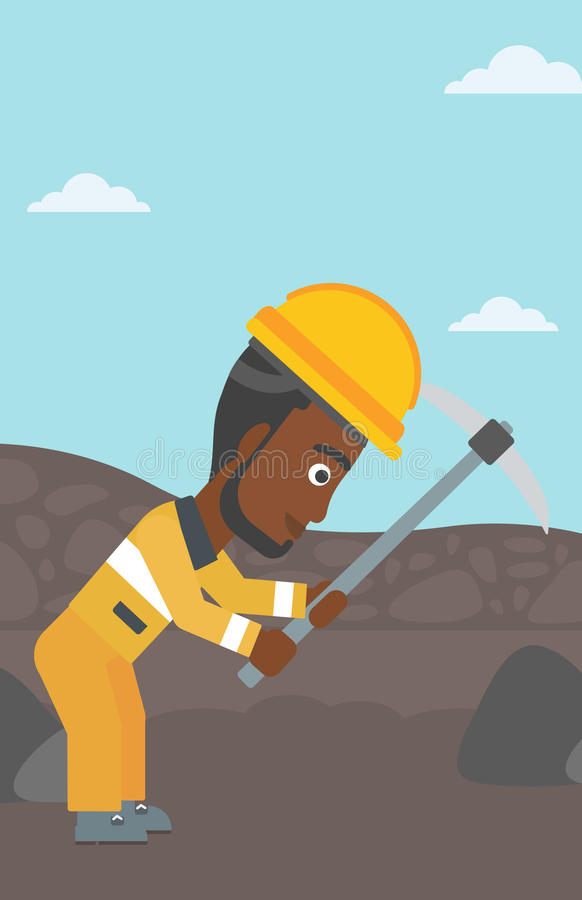 Miner working with pickaxe vector illustration. An african-american miner working with a pickaxe. Mine worker in hard hat. Miner at the coal mine. Vector flat royalty free illustration