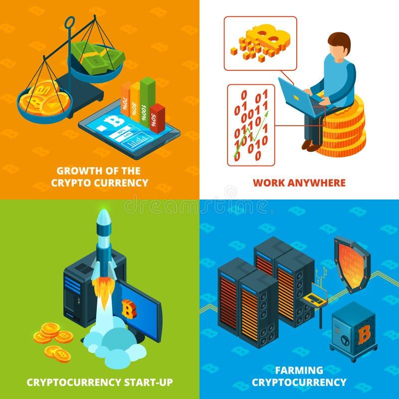 Mineração de Cryptocurrency Composições isométricas do conceito do vetor da pesquisa do blockchain do dinheiro eletrônico ilustração do vetor