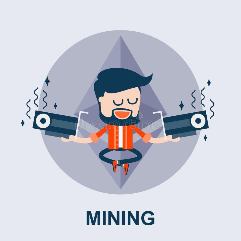 Mineração de Ethereum - conceito cômico do vetor ilustração do vetor