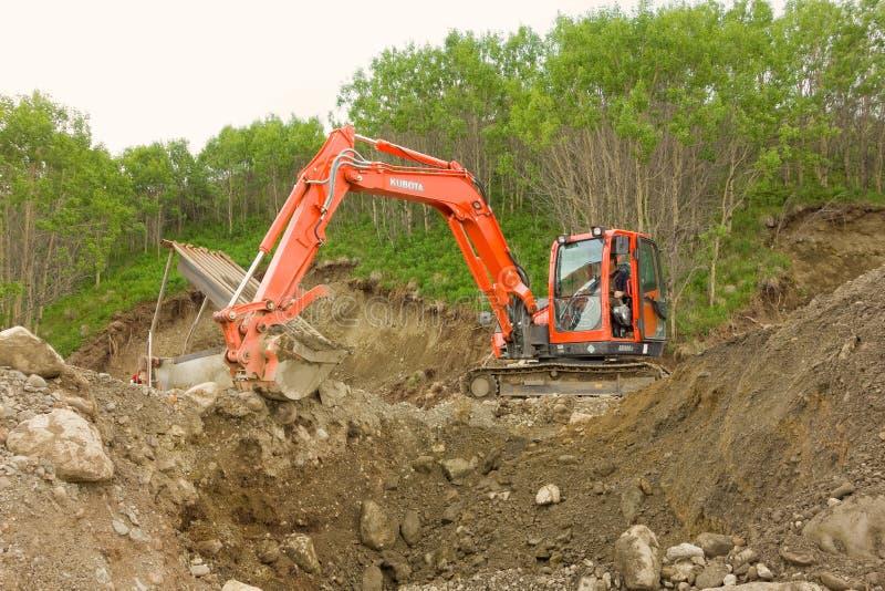 Mineração de Placer em uma reivindicação pequena nos territórios yukon fotografia de stock royalty free