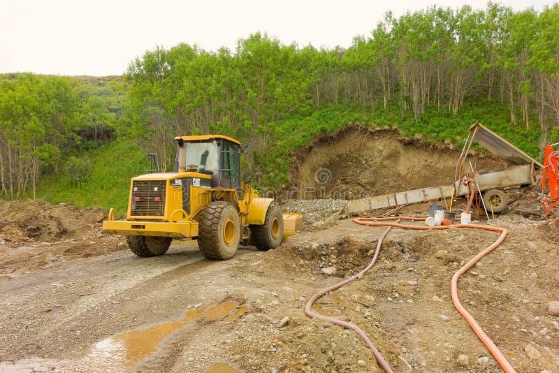 Mineração de Placer nos territórios yukon imagem de stock