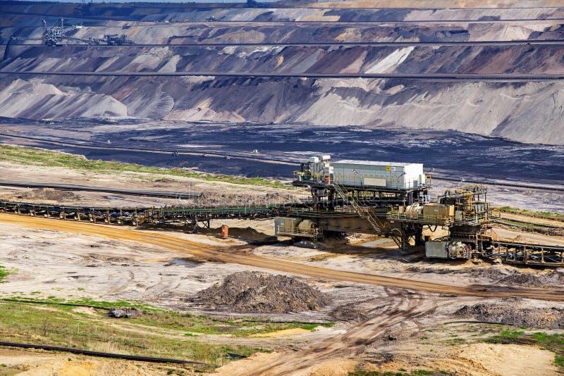 Mineração de tira do lignite (carvão marrom) em Garzweiler, Alemanha fotografia de stock royalty free