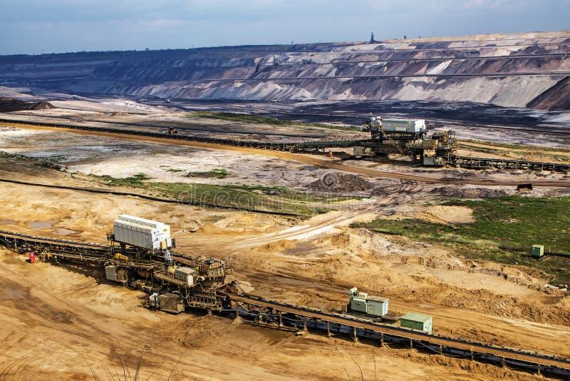 Mineração de tira do lignite (carvão marrom) em Garzweiler, Alemanha foto de stock