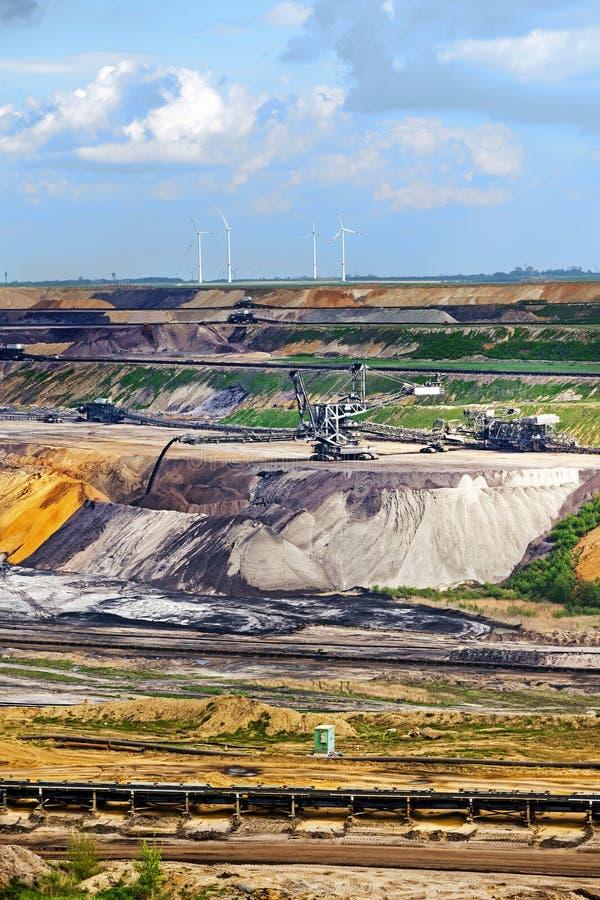 Mineração de tira Garzweiler do lignite (carvão marrom), Alemanha, vertical fotografia de stock royalty free