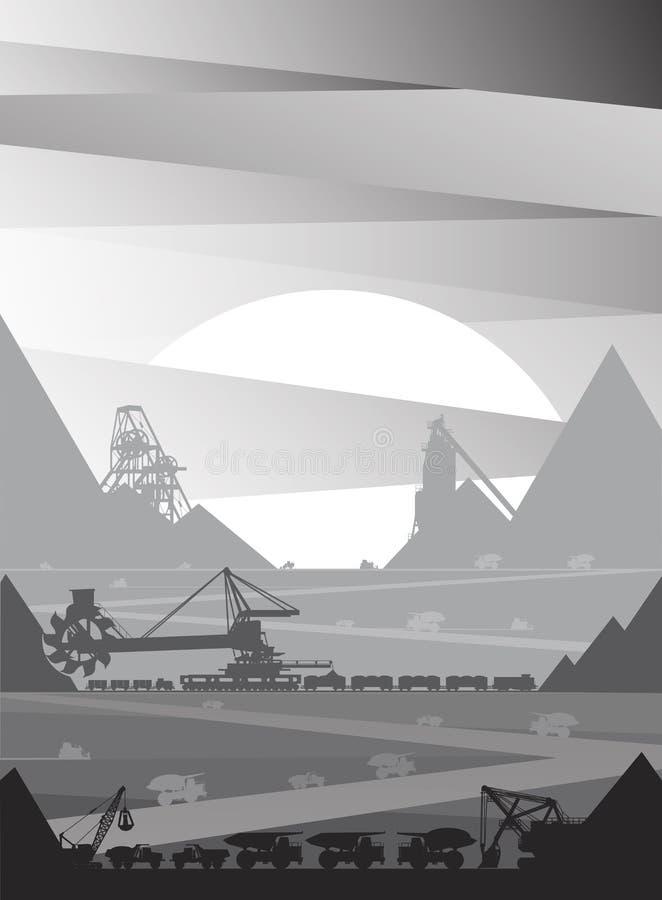 Mineração em que minério é minado ilustração royalty free