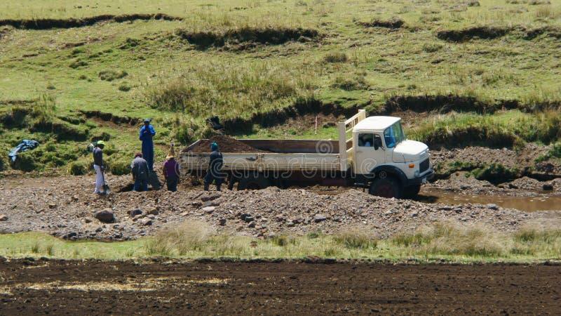 Mineração grave da bacia hidrográfica fotografia de stock