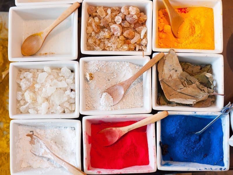 Mineraal pigment en andere natuurlijke stoffen stock fotografie