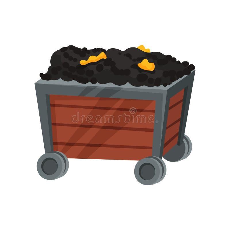 Minerai avec de l'or dans le chariot sur le fond blanc illustration de vecteur