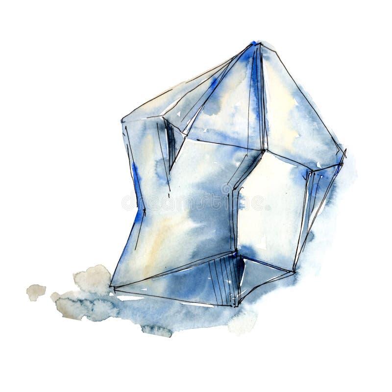 Minerai bleu de bijoux de roche de diamant Élément d'isolement d'illustration illustration libre de droits