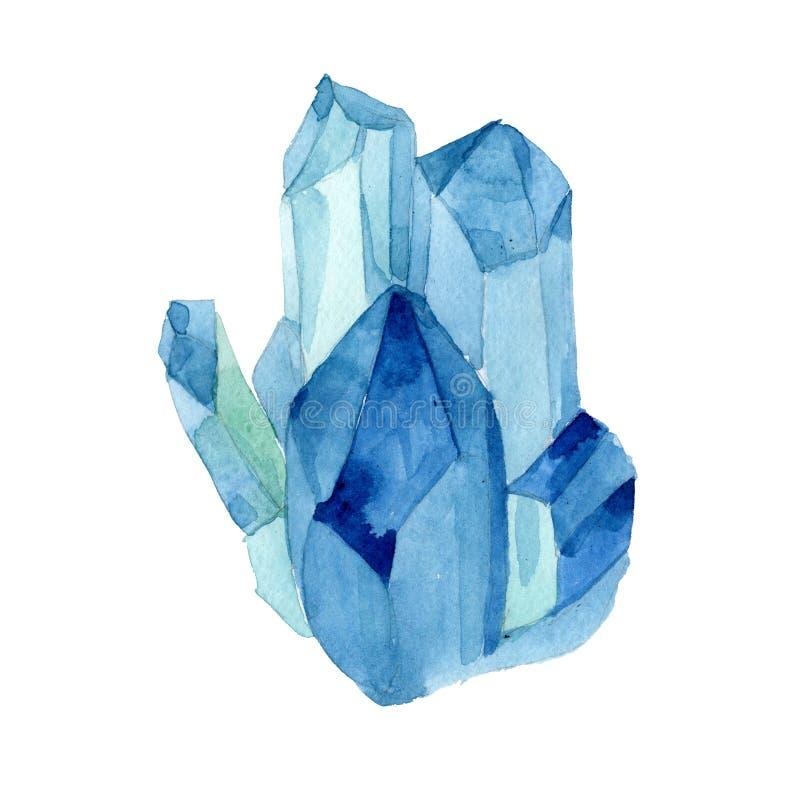 Minerai bleu de bijoux de roche de diamant Élément d'isolement d'illustration illustration de vecteur