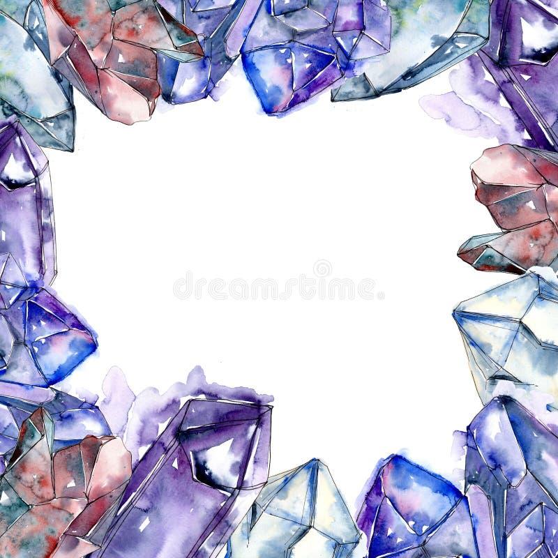 Minerai bleu de bijoux de roche de diamant Place d'ornement de frontière de vue illustration stock