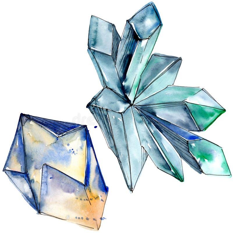 Minerai coloré de bijoux de roche de diamant Élément d'isolement d'illustration illustration stock