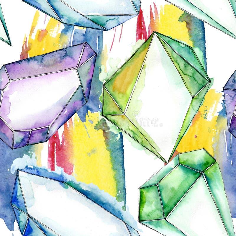 Minerai coloré de bijoux de roche de diamant illustration libre de droits