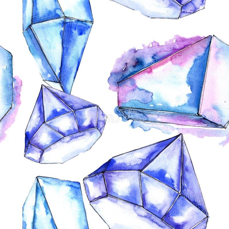 Minerai coloré de bijoux de roche de diamant Modèle sans couture de fond illustration de vecteur