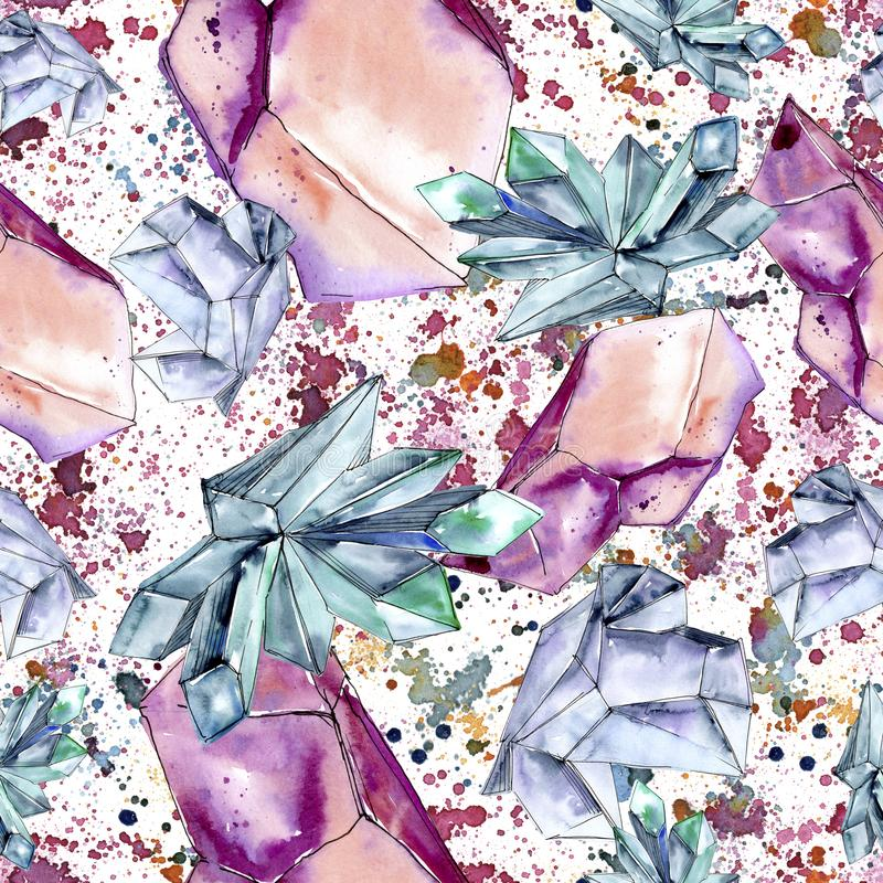 Minerai coloré de bijoux de roche de diamant Modèle sans couture de fond illustration stock