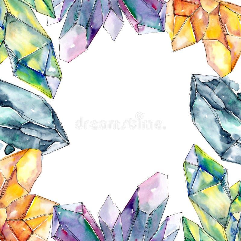 Minerai coloré de bijoux de roche de diamant Place d'ornement de frontière de vue illustration stock