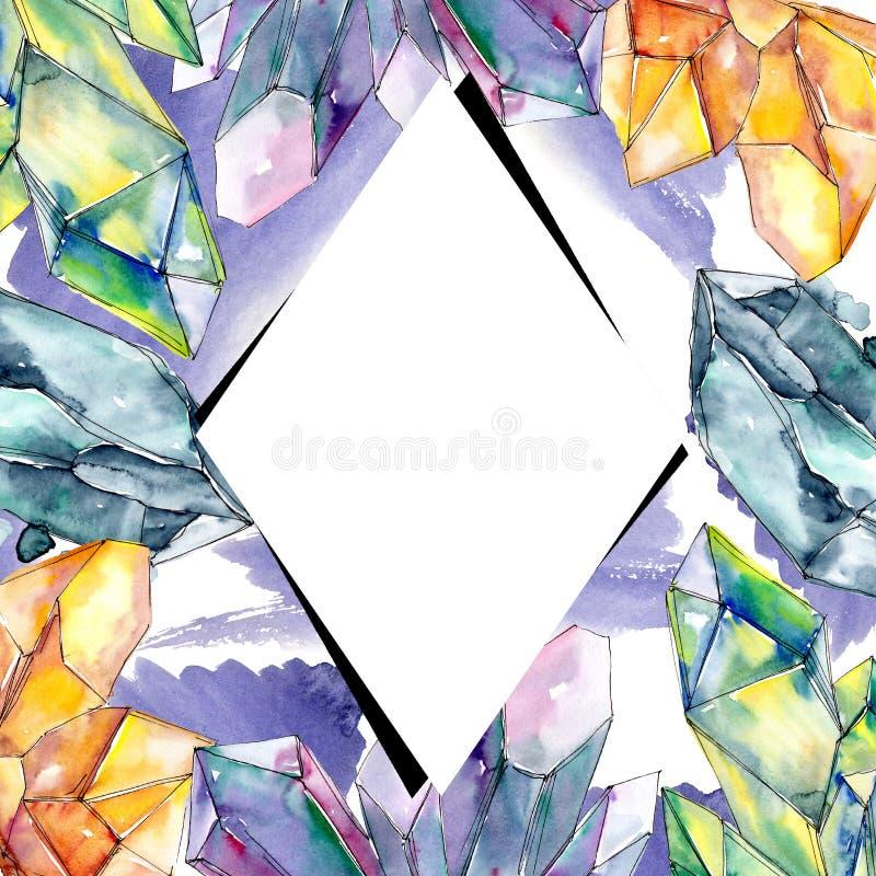 Minerai coloré de bijoux de roche de diamant Place d'ornement de frontière de vue illustration libre de droits