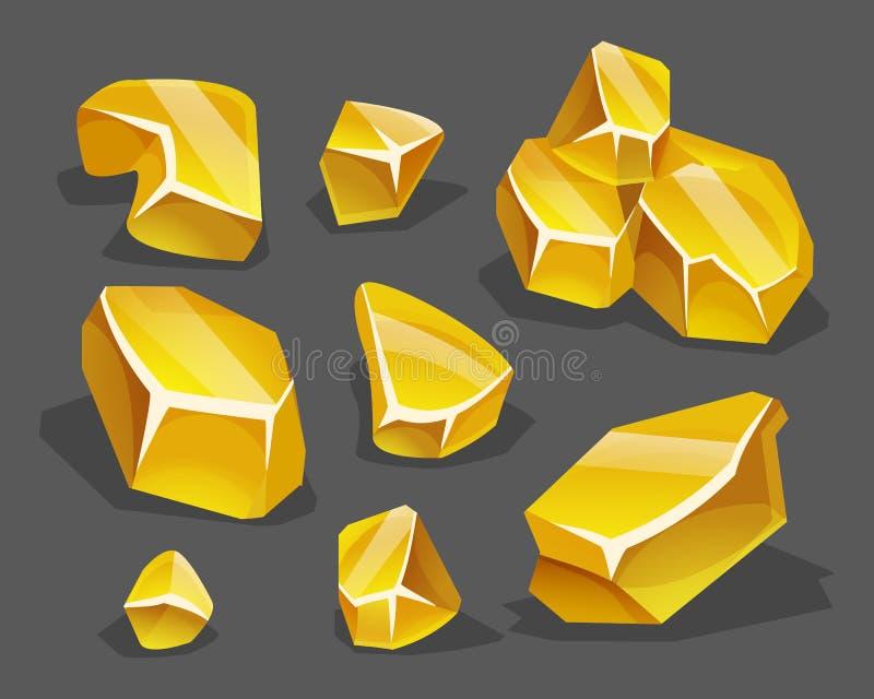 Minerai d'or de bande dessinée dans le style isométrique Ensemble de différents rochers d'or illustration stock
