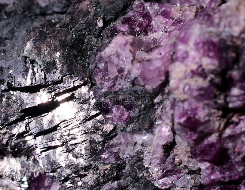 Minerai de fluorine de photographie de plan rapproché avec le galenite photographie stock libre de droits