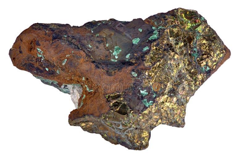 Minerai de pyrite et de malachite d'isolement sur le blanc images stock