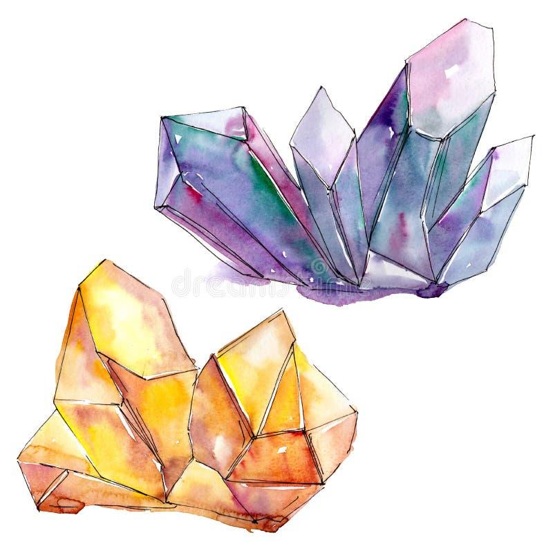 Minerai pourpre et orange de bijoux de roche de diamant Élément d'isolement d'illustration illustration stock