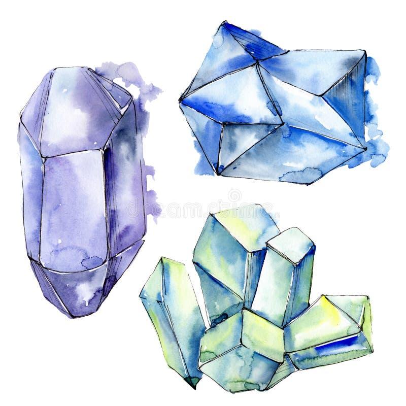 Minerais color?s de bijoux de roche de diamant Positionnement de fond d'aquarelle Élément d'isolement d'illustration de cristaux photo libre de droits