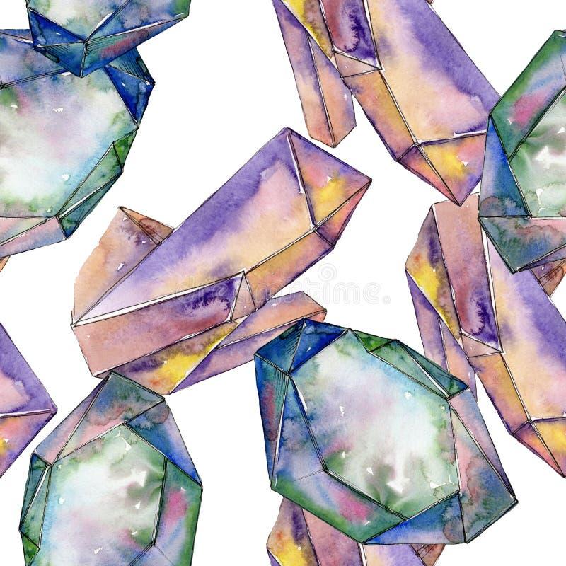 Minerais coloridos da joia da rocha do diamante Grupo de pedra de cristal do fundo da aquarela Teste padrão sem emenda do fundo ilustração do vetor
