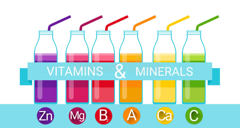 Minerais essenciais do nutriente dos elementos químicos da garrafa do cocktail das vitaminas ilustração stock