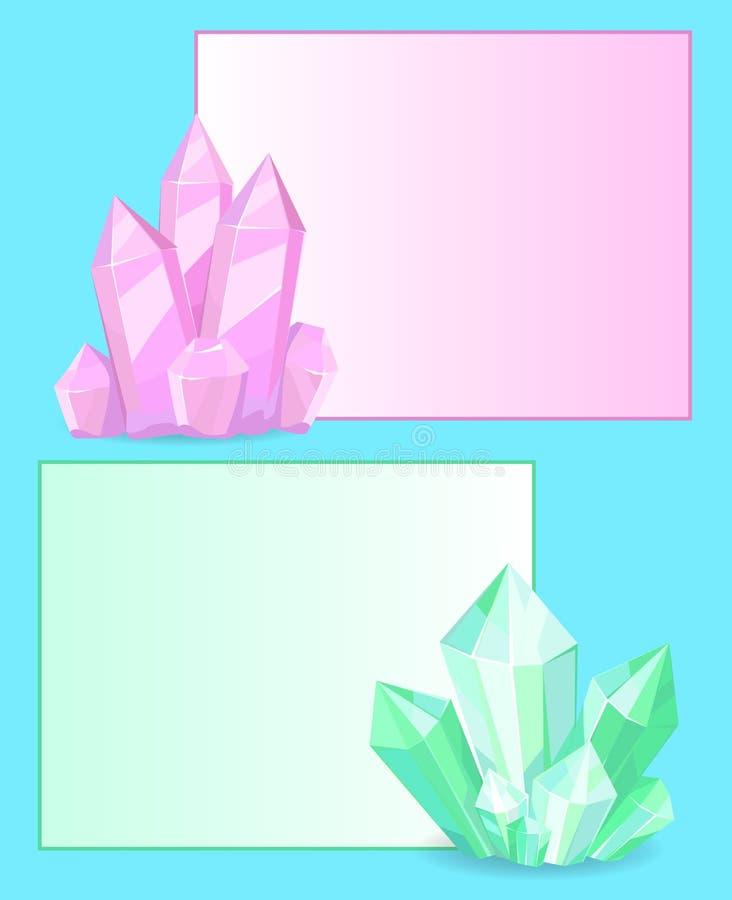 Minerais orgânicos de pedras preciosas cor-de-rosa e verdes dos cristais ilustração royalty free