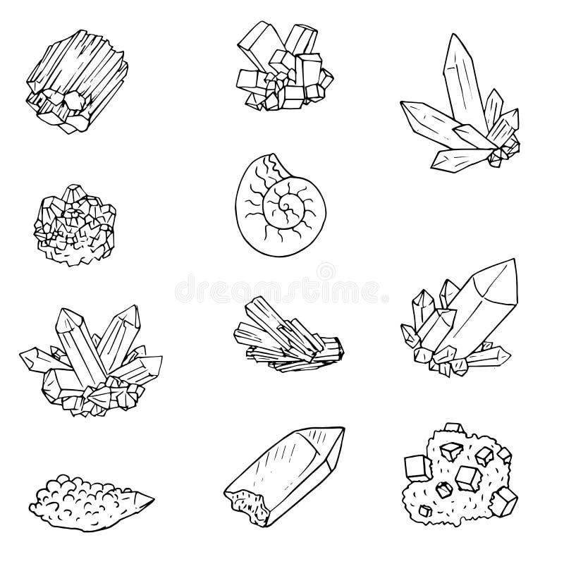 Minerais, pierres et cristals illustration libre de droits