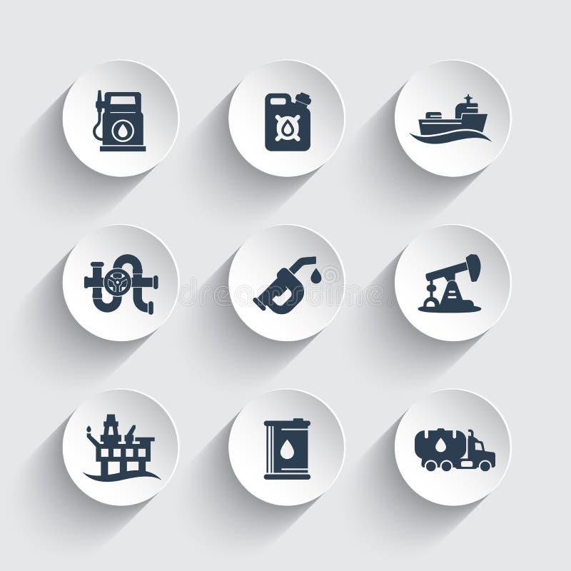 Mineralölindustrieikonen eingestellt stock abbildung